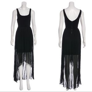 Alice + Olivia Semi-Sheer High Low Maxi Dress